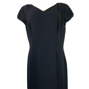 Maggy London Womens Dress Sz 14 Black Crepe Ruffle